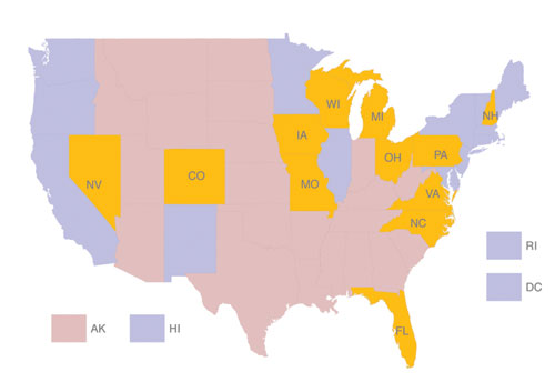 Figure 3. Map of United States with swing states highlighted in yellow. States won by the Republican candidate, John McCain, in 2008 election are highlighted in red, while states won by Obama in 2008 are highlighted in blue.